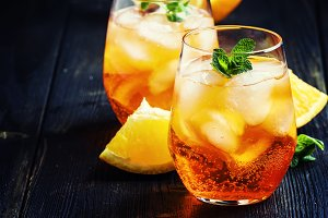 Italian cocktail with aperitif, ice