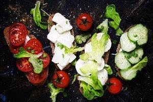 Bruschetta with tomatoes, cucumbers,
