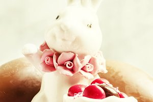 Porcelain Easter bunny with brown an