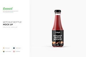 Glass Tomato Ketchup Bottle Mockup