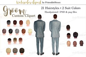Groom custom watercolor clipart