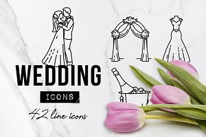 42 Romantic Wedding Icons Pack