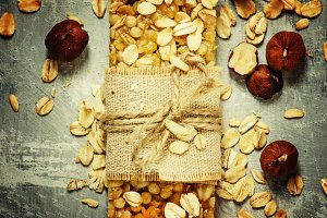 Homemade muesli bar with hazelnuts,