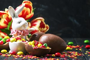 Easter composition with a rabbit and