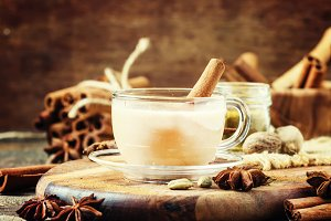 Indian masala tea, rustic style, sel