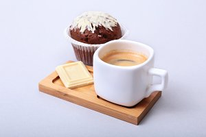 Classic espresso in white cup with