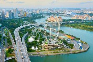 Singapore skyline, Ferries Wheel