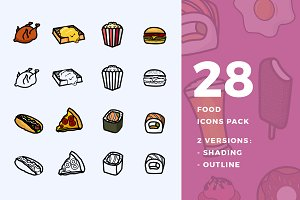 28 Food Icon Pack