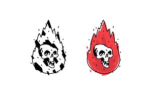 Illustration of a burning skull