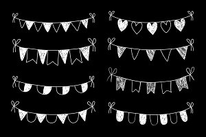 Hand drawn buntings clip art set