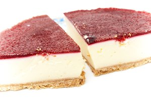 cheesecake with strawberry syrup