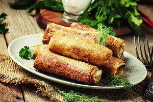 Savory fried pancakes, rustic style,