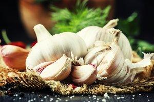 Garlic, rustic style, selective focu