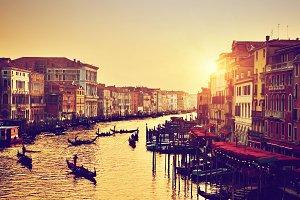 Venice at sunset. Vintage