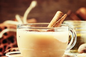 Masala tea with milk and spices on a