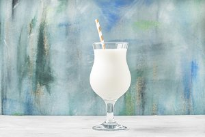 Milkshake with ice cream and natural