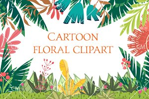 Cartoon floral clipart
