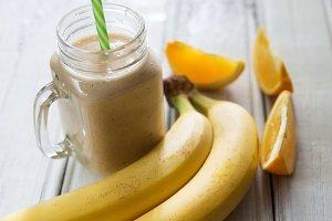 A banana orange smoothie. Healthy mi
