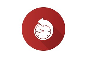 Back arrow around clock icon