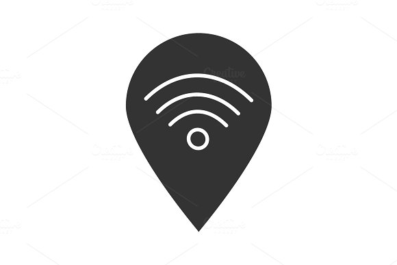 Map pinpoint with wifi signal icon in Icons