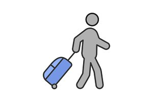 Person with baggage color icon