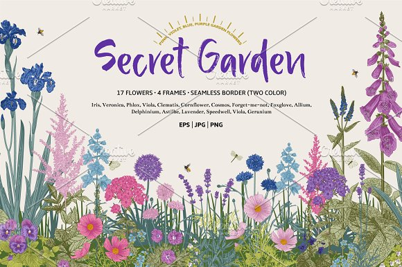 Secret Garden. Floral set ~ Illustrations ~ Creative Market