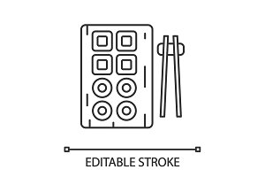 Sushi and chopsticks linear icon