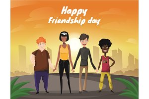 Group of four happy diverse friends