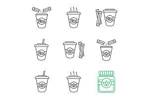 Coffee and tea drinks icons set