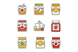 Homemade preserves color icons set