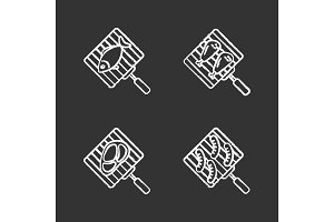 Barbecue chalk icons set