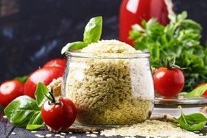 Italian uncooked pasta riso or orzo