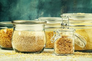 Assorted cereals and grains in glass