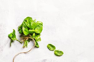 Food background with green basil, fl