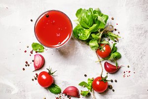 Food background, tomato juice, green