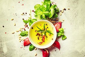 Food background, olive oil, cedar nu