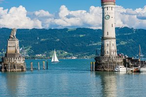Lighthouse of Lindau at lake Constan