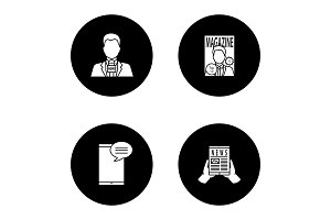 Mass media glyph icons set