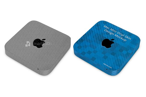 Apple Mac Mini Vinyl Skin PSD Mockup