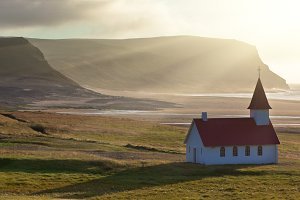 Typical Rural Icelandic Church at th
