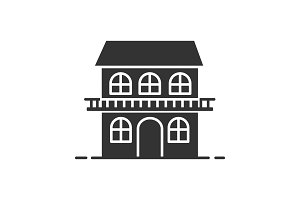 Two storey cottage glyph icon