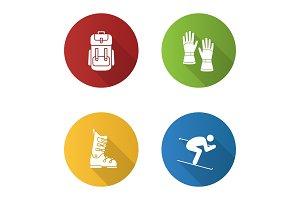 Winter activities icons set