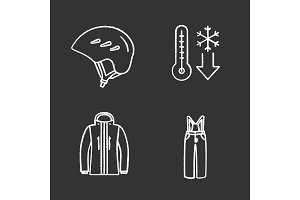 Winter activities chalk icons set