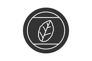 Round sticker with tobacco leaf icon
