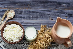 Dairy products: milk, cottage cheese