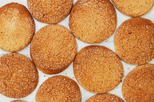sand round cookies, top view, close-