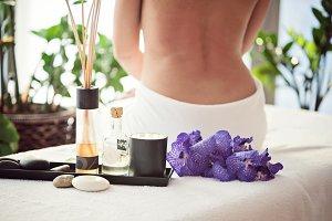 Spa treatment, aromatherapy, a girl