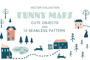 FUNNY MAPS vector elements, patterns