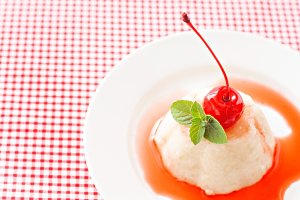 White airy cream-mousse dessert with