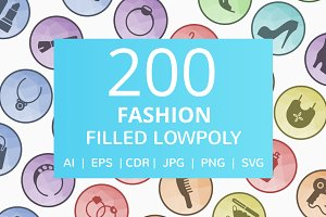 200 Fashion Filled Low Poly Icons